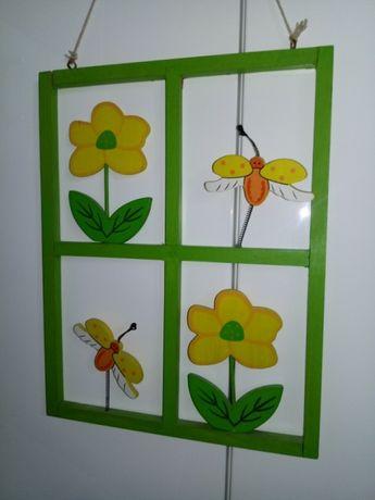 obrazek na ścianę, okienko, ramka drewniana