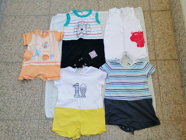 Pijamas com estampados de manga curta para bebé