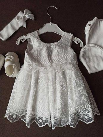 Наряд на крестины. Крестильный набор. Белое платье для девочки.