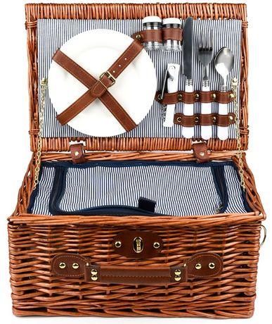 kosz piknikowy wiklinowy talerze sztućce termiczny F37