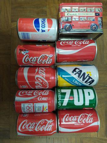 Lote todo Latas de refrigerantes e crachás.coleções anos 80 e 90