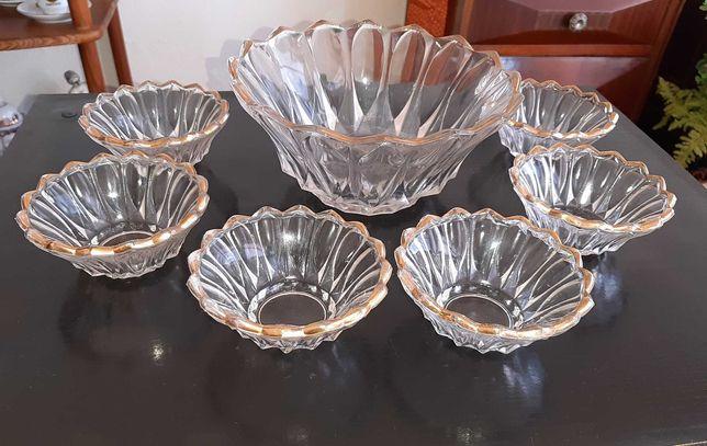 Conjunto de Taças Antigas em Vidro com fitet dourado - Bom Estado
