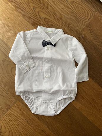 Elegancka biała koszula body z muszką Benetton