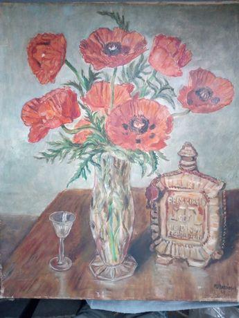 Stary obraz olejny Maki