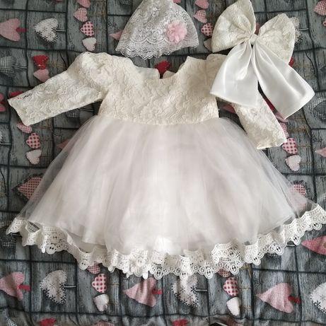 Komplet do chrztu roz  86 Sukienka czapeczka + płaszczyk