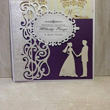 Kartka ręcznie robiona, w dniu ślubu, dla młodej pary