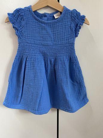 Z szafy Poli- śliczna, muślinowa, niebieska sukienka rozm.80