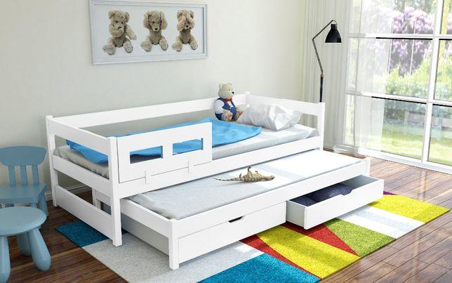 Łóżko podwójne TOMMY z drewna sosnowego + materace
