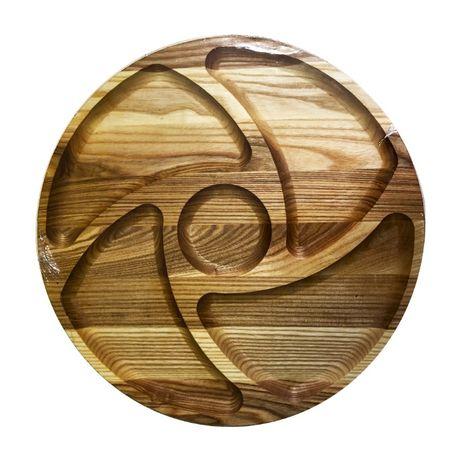 Менажница деревянная TreeVeru круглая 4 отделения + соус (Инь Янь)