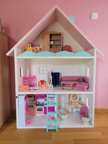 ogromny DOMEK dla Barbie drewniany z wyposazeniem - stan idealny