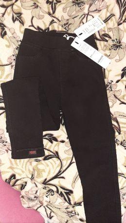 Зимние тёплые штаны 128 брюки в школу флис лосины джинсы утеплённые