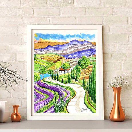 Италия Современная живопись акварельная Картина пейзаж горный