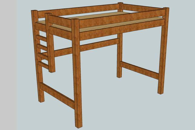 Łóżko piętrowe, antresola z materacem • 120x200cm • solidne • stan BDB