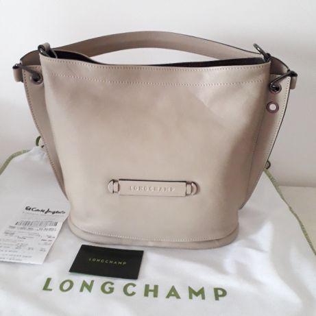 Mala Longchamp Besace ORIGINAL em pele cor Bege NOVA