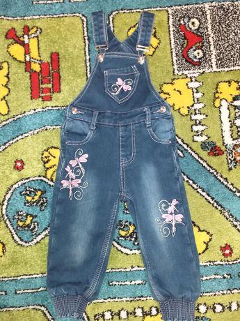 Утепленный джинсовый комбинезон Yuke на флисе на 1-2 года
