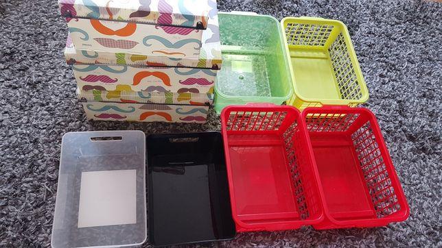 Pojemniki plastikowe 6 sztuk i 3 pudełka kolorowe