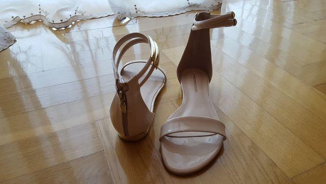 Sandałki beżowe PrimaModa skóra, rozmiar 38.