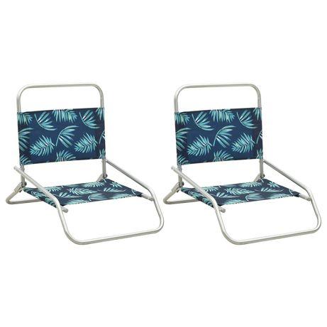 vidaXL Cadeiras de praia dobráveis 2 pcs tecido padrão de folhas 310373