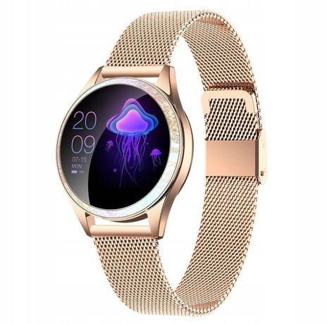 Elegancki Smartwatch zegarek damski złoty/srebrny kroki puls cykl