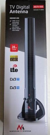 Antena TV pokojowa DVB-T DAB FM wewnętrzna 100dBuV Nowa