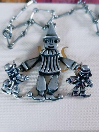 srebrny zestaw ruchomy klaun duza zawieszka i kolczyki sztyfty 925