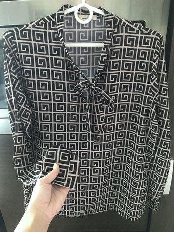 Elegancka bluzka koszula w print z kokarda butik  biurowa