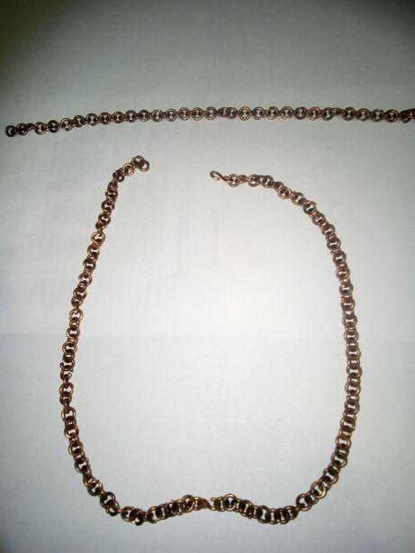 Медный браслет и цепочка ручной работы