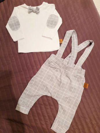 Zestaw elegancki spodnie z szelkami i bluzka z muchą rozm 3-6mcy