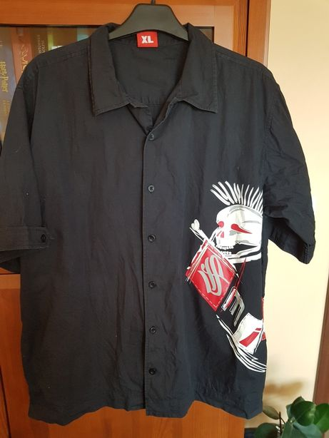 Czarna koszula chłopięca krótki rękaw XL