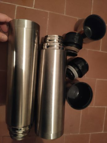 Dwa używane termosy stalowe