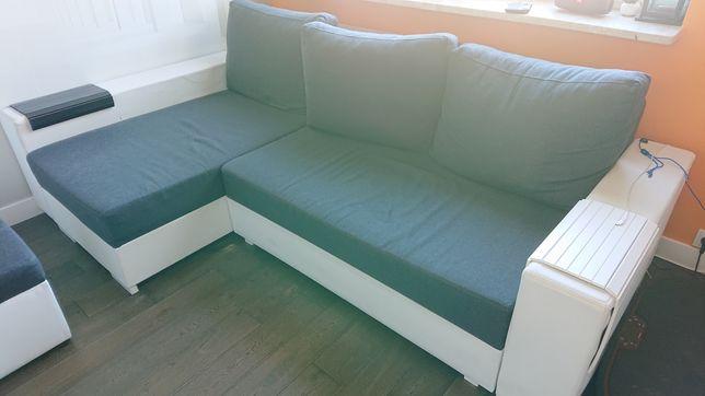 Narożnik z funkcją spania, fotel, pufa