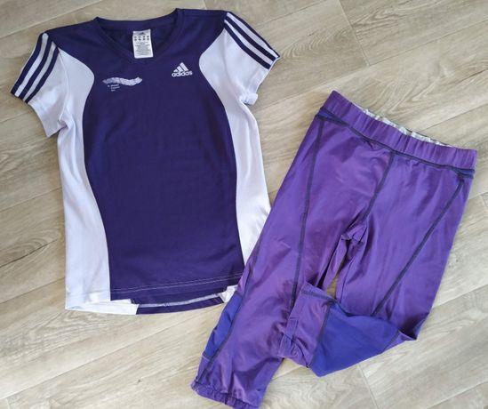 Спорт! Футболка Adidas и легинсы бриджи Фиолетовый Бег фитнес вело От