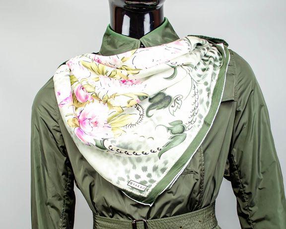 Фирменный большой шелковый платок Vakko.Красивый платок в цветах.