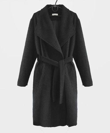 Пальто черное кашемир на запах