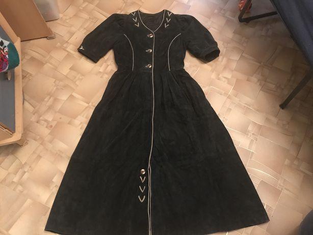 Винтажное кожанное платье