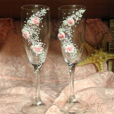 Нежные свадебные бокалы