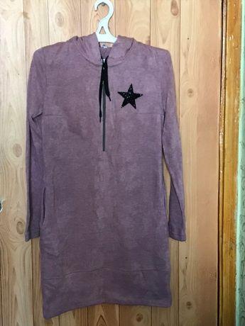 Нежное, уютное, мягкое Платье-Туника Тори Розовое. Размер 46