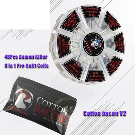 Набор Demon Killer coil 48шт + пачка Cotton bacon v2 Спирали + вата