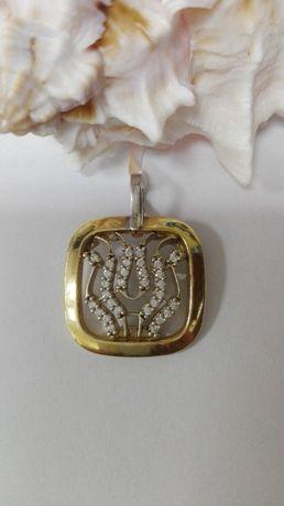 Złoty wisiorek lira z cyrkoniami, próba 585