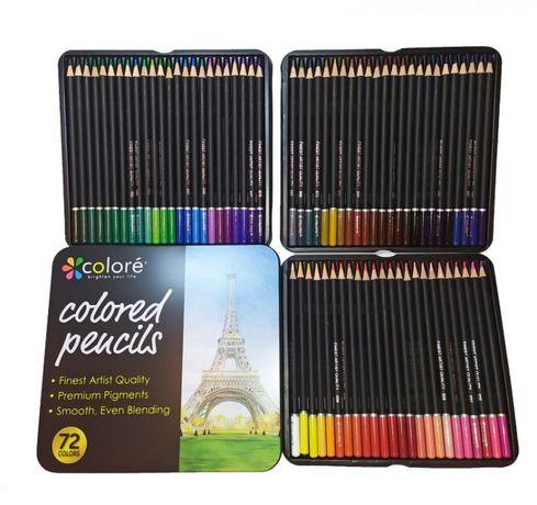 Цветные карандаши 72 цвета в металлическом пенале. Набор карандашей