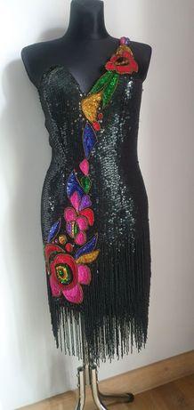 Sukienka jedwab 100% Roots Vintage cekiny koraliki na sylwester czarna