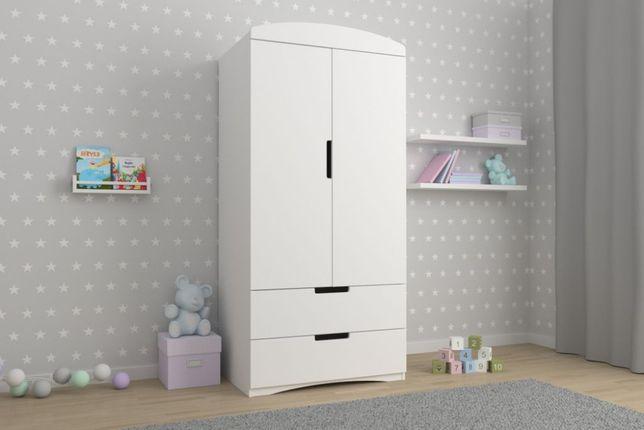 szafa ubraniowa CLASSIC biała o szerokości 90 cm - dla dziewczynki