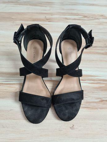 Sandały wysokie na szpilce eleganckie czarne roz. 36 zabudowana pięta