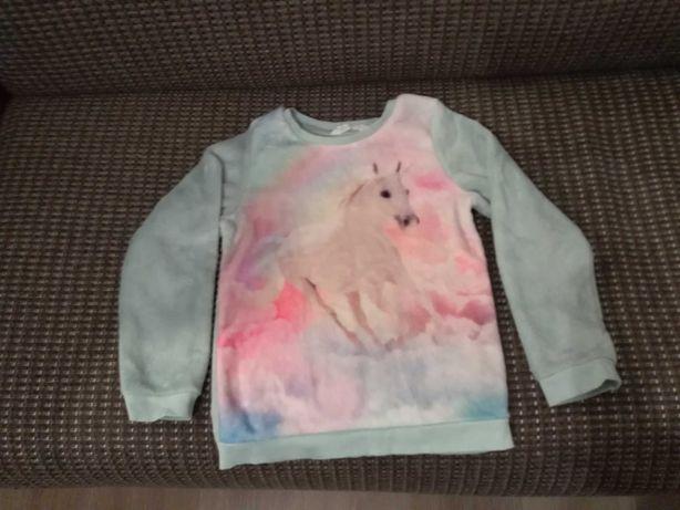 Sweterek/bluza pluszowa,aksamitna dziewczęca z jednorożcem