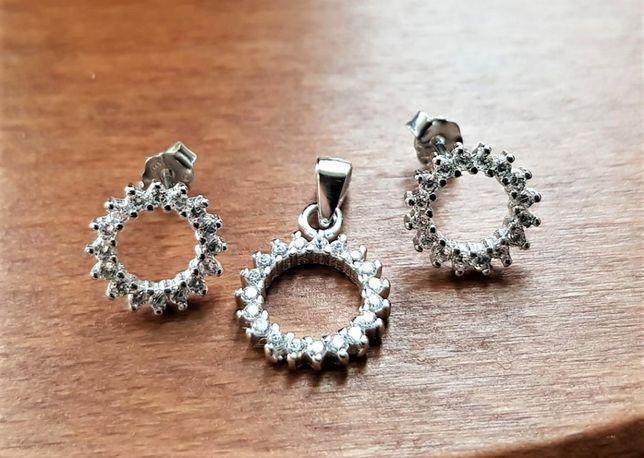 Komplet biżuterii - kolczyki i zawieszka Srebro 925, łańcuszek
