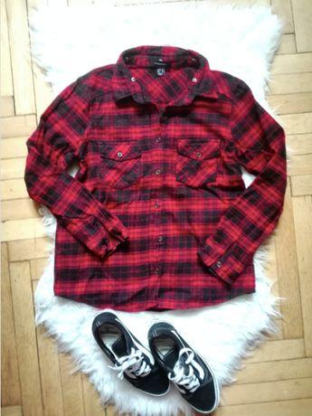 Primark Atmosphere koszula w kratę flanelowa czarno czerwona kratkę