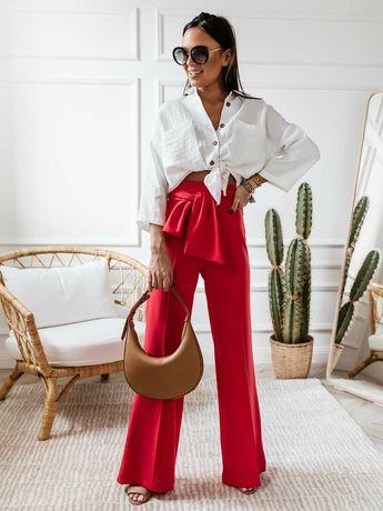 Wysokie spodnie szerokie cocomore czerwone wiązane s m l cudo