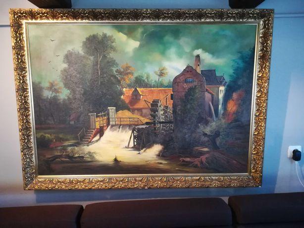 Stary sygnowany podpisem piękny duży obraz na płótnie Młyn