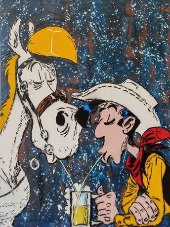 Lucky Luke pintura original em tela