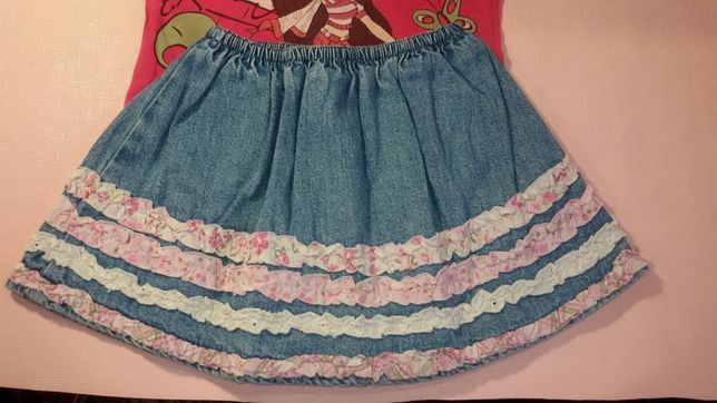 Джинсовая юбка на 2 года+подарок летняя пышная юбочка